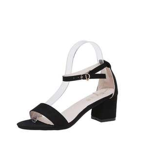 Simple Elegant Peep-toes Pattern Thin Strappy Ankle  Designs Dinner Ladies Suede High Heels Shoes
