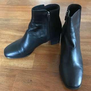 黑色小羊皮踝靴24號(正韓)