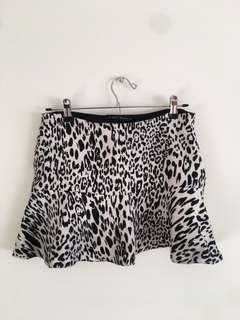 [ZARA] Leopard Black White Mini Skirt