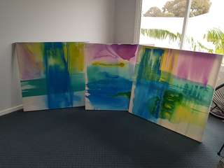 Hand Painted Canvas Set of 3