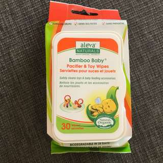 BNIP Aleva Naturals Bamboo Baby Pacifier & Toy Wipes
