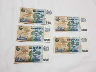 Old notes SGD50 bird series