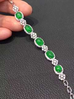 18K鑽石天然A貨綠手鏈