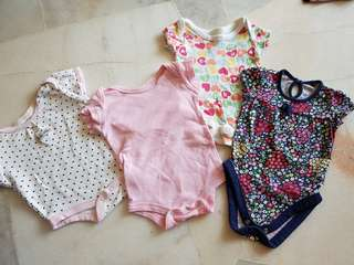 4pcs Mix Baby Girl Rompers (0-3m)