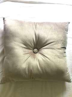 Silver crushed cushion with diamonte