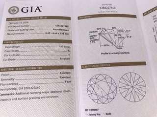 GIA  1.01卡 G色 I1  3EX  FT  臺面6.44mm。完美車工 8心8箭。$29800