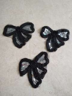 Sew on Sequins Patch - Black Silver Sequins Ribbon