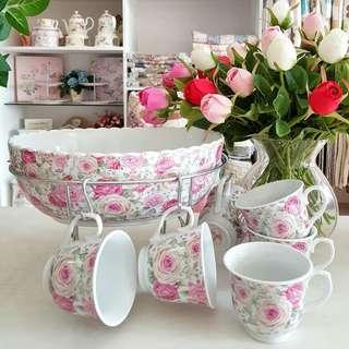 Tempat sop buah  Bowl sol buah + 6 teacup + 1 standing besi