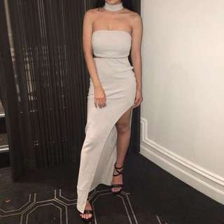 Grey Choker Bandeau Dress