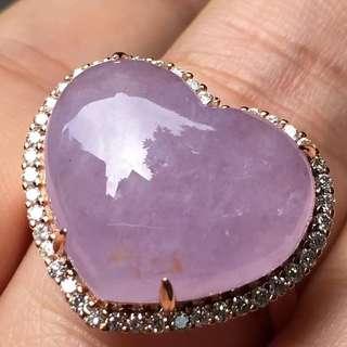 高冰紫心形戒指