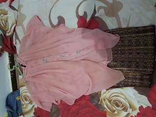 Satu set blouse kebaya dusty pink dan rok span pendek