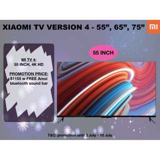XIAOMI TV V4 Frameless design, 4kHD Android Smart TV, 55 inches
