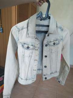 colorbox washed denim jacket / crop jaket jeans