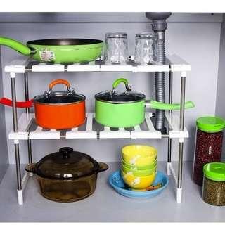 Multipurpose Adjustable 2 Layer Storage Kitchen Rack