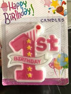 Unused baby girl 1st birthday candle