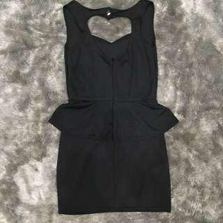 PRELOVED Black Heart Back Dress