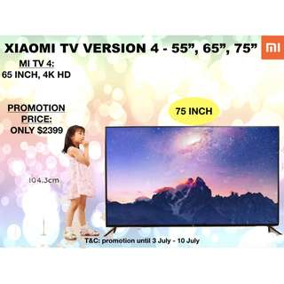 XIAOMI TV V4 Frameless design, 4kHD Android Smart TV, 75 inches