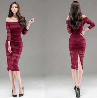 Red Off Shoulder Elegant Dress