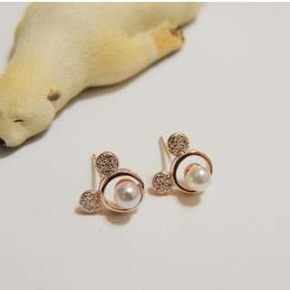 🚚 米奇珍珠耳環