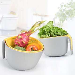 🚚 雙層 洗菜藍 洗菜盆 瀝水籃 水果籃