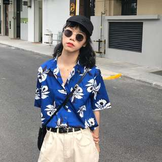 Women Blue Flower Blouse