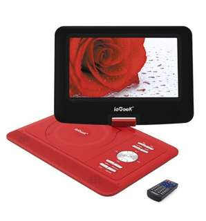 "(338) ieGeek 13.8"" Portable DVD Player Swivel Screen 6 Hour Rechargeable Battery Red"