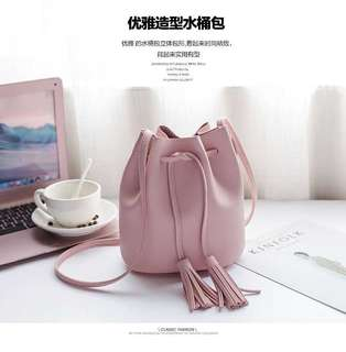 Simple female New style fringed bag bucket bag (Pink)