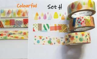 Colourful Washi samples Set H