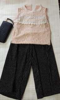 Striped plazo quarter pants