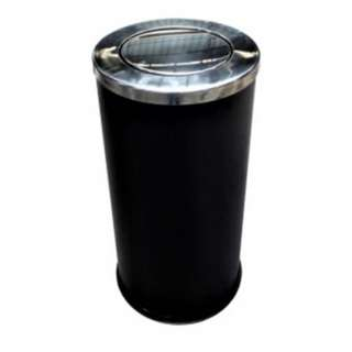 Stainless Steel Bin Round c/w Flip Top (Black Powder Coated)