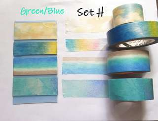 Green/Blue  Washi samples set H