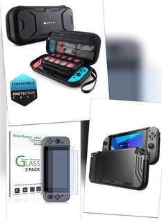 Nintendo Switch Set A: 1 Mumba Carry Case + 1 Mumba Slim Fit Case + 1 amfilm Screen Protector (2pc pack)