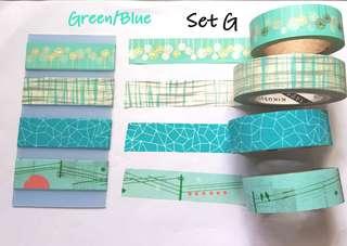 Green/blue Washi samples set G