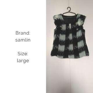 Samlin black and white chiffon blouse