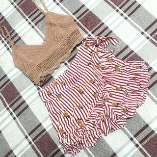 超可愛🍍紅色紅白條紋熱帶水果鳳梨短褲裙荷葉滾邊一片裙短裙圍裙荷葉短褲荷葉短裙子
