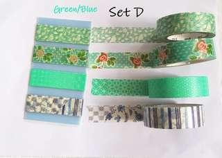 Green/blue Washi samples set D