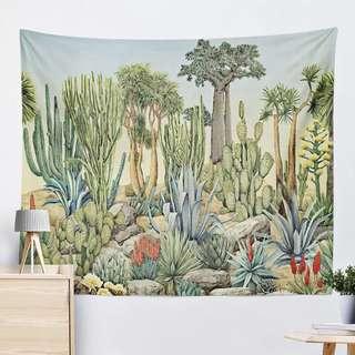 🚚 小預算佈置術植物仙人掌裝飾掛布壁畫直播背景微裝潢Decorative Cloth Hanging Cloth Mural