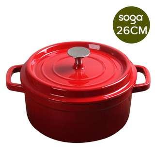 Cast Iron Enamel Porcelain Stewpot Casserole Stew Cooking Pot With Lid 5L Red 26cm
