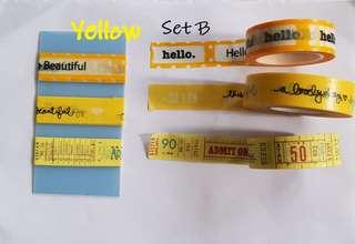Yellow washi samples Set B