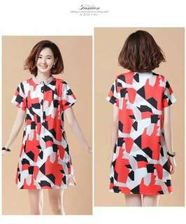 🍒Printed Dress with collar