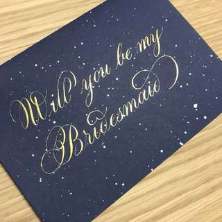Personalised bridesmaid gift cards