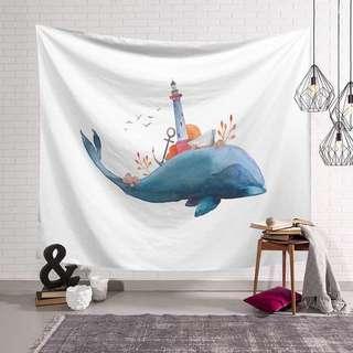 🚚 小預算佈置術鯨魚塔裝飾掛布壁畫直播背景微裝潢Decorative Cloth Hanging Cloth Mural