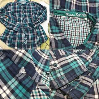 Guess los angeles ruffle plaid button down top to