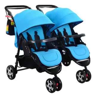 Blue Heavy Duty Twin Stroller Detachable