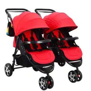 Red Heavy Duty Twin Stroller Detachable