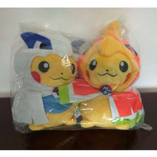 Ho-Oh and Lugia Poncho Pikachu Plushies (Official Pokemon Center Merchandise)