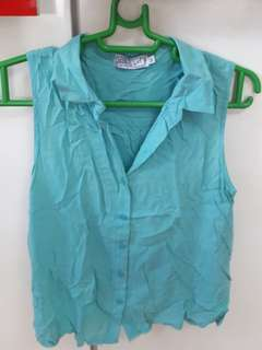 Just G. sea green polo blouse