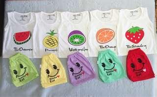 🚚 Cotton fruit cartoon sleeveless (singlet) set for babies/ kids/ toddlers