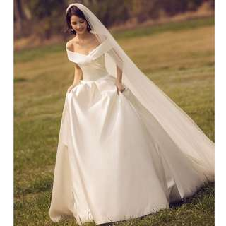 Wedding Collection - Satin Material Smooth Style Wide V Off Shoulder Design 1 Meter Long Tail Wedding Gown