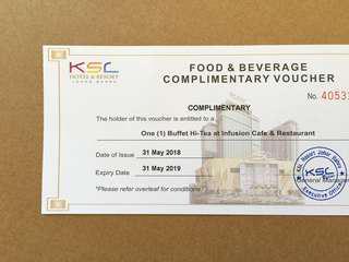 Voucher: Buffet Hi-Tea at KSL Hotel & Resort Johor Bahru (1pc)